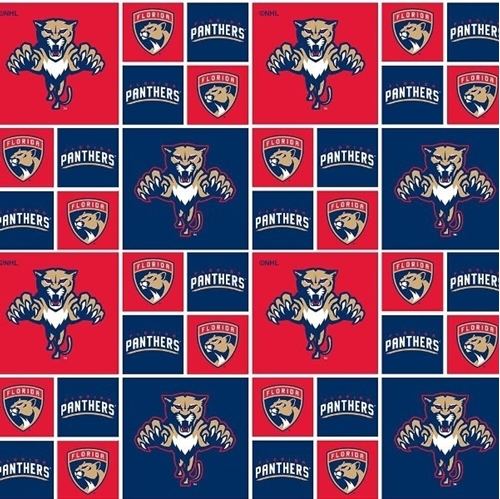 NHL Hockey Florida Panthers Logo Squares Red and Blue Cotton Fabric