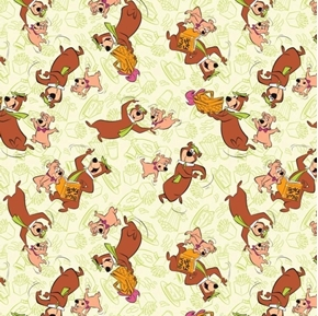 Picture of Yogi Bear and Boo-Boo in Bali Hanna-Barbera Light Green Cotton Fabric