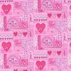 Picture of Breast Cancer Awareness Pink Ribbon Hope Squares Cotton Fabric