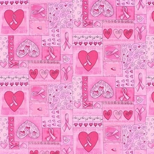 Breast Cancer Awareness Pink Ribbon Hope Squares Cotton Fabric