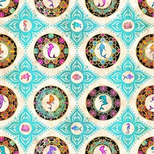 Sea Serenade Mermaid Medallion Colorful Medallions Cream Cotton Fabric