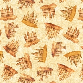 Sea Serenade Sandcastles Swirling Castle Cream Cotton Fabric