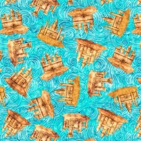Picture of Sea Serenade Sandcastles Swirling Castle Aqua Cotton Fabric