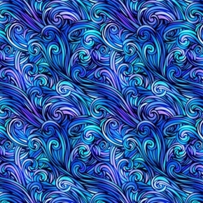 Picture of Sea Serenade Diagonal Water Swirling Blue Water Cotton Fabric
