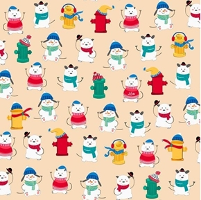 Chilly Dogs Winter Dogs and Fire Hydrants Cream Holiday Cotton Fabric