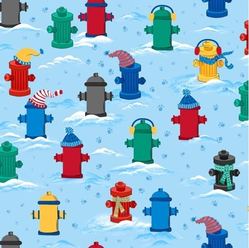 Chilly Dogs Fire Hydrants Dressed for Winter Cold Blue Cotton Fabric