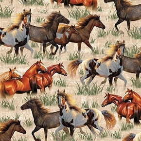 Picture of Round Em Up Running Horses Wild Horse Cream Cotton Fabric