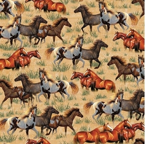 Picture of Round Em Up Running Horses Wild Horse Chamois Brown Cotton Fabric
