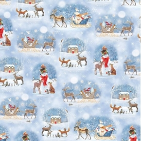 Picture of Woodland Dream Winter Vignettes Snowman Scenic Blue Cotton Fabric