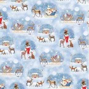Woodland Dream Winter Vignettes Snowman Scenic Blue Cotton Fabric