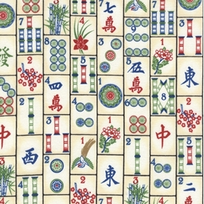 Mahjong Tiles Tile Game Novelty Cotton Fabric