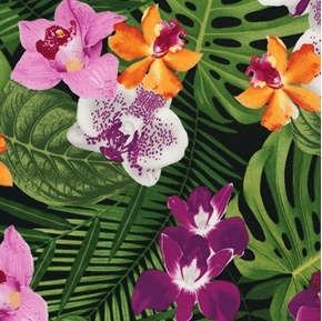 Banana Leaves and Flowers Tropical Orchids Cotton Fabric