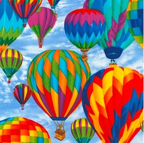 Picture of Hot Air Balloons Colorful Balloon Ride Blue Sky Cotton Fabric
