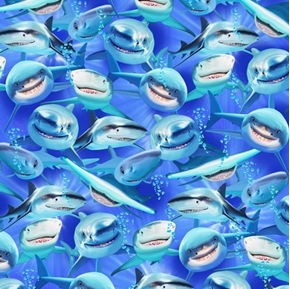 Shark Attack Smiling Shark Selfies Ocean Fish Cotton Fabric