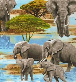 Elephants at the Watering Hole African Elephant Cotton Fabric