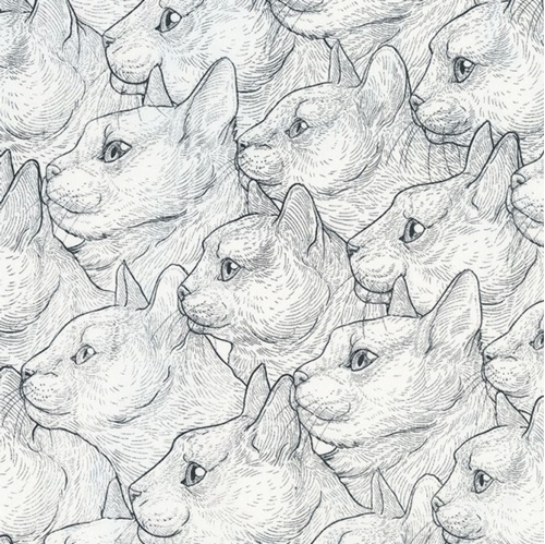 Side Profile Cats Cat Profiles Sketches Cotton Fabric