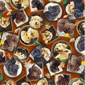 Labrador-able Labrador Portraits Puppy Dog Brown Cotton Fabric