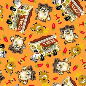 Hot Tamale Tossed Food Mexican Food Taco Truck Orange Cotton Fabric