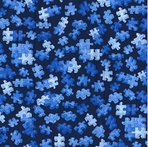 Blue Puzzle Pieces Tossed on Black Cotton Fabric