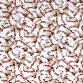 Baseball Packed Small Baseballs Red Laces Cotton Fabric