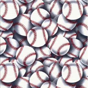 Baseballs Large Baseball Collage with Red Laces Cotton Fabric