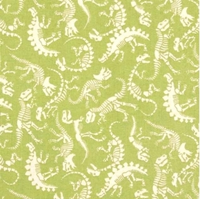 Rex Skeleton Dinosaur Fossils Bones Skeletons Green Cotton Fabric