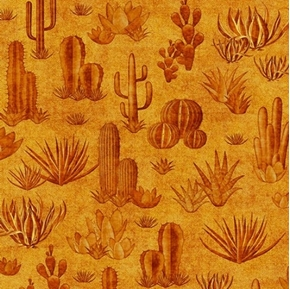 Southwest Soul Cactus Dessert Succulents Aztec Gold Cotton Fabric