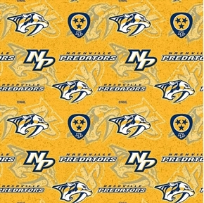 Picture of NHL Hockey Nashville Predators Logos and Names Gold Cotton Fabric