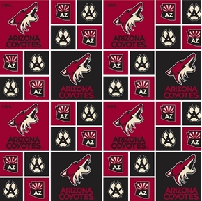 NHL Hockey Arizona Coyotes Logo Squares Red and Black Cotton Fabric