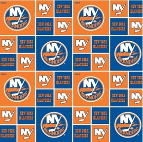 Picture of NHL Hockey New York Islanders Logo Squares Orange Blue Cotton Fabric