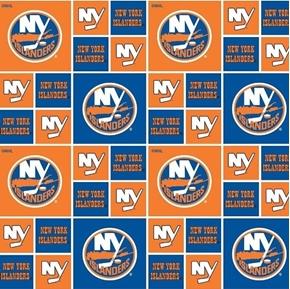 NHL Hockey New York Islanders Logo Squares Orange Blue Cotton Fabric