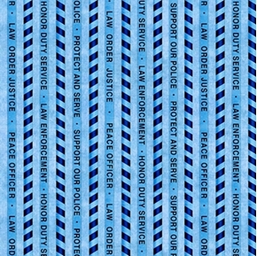Protect and Serve Police Stripe Law Blue on Blue Cotton Fabric