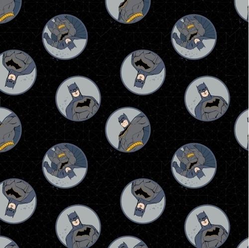 DC Comics Justice League Batman Badges Black Cotton Fabric