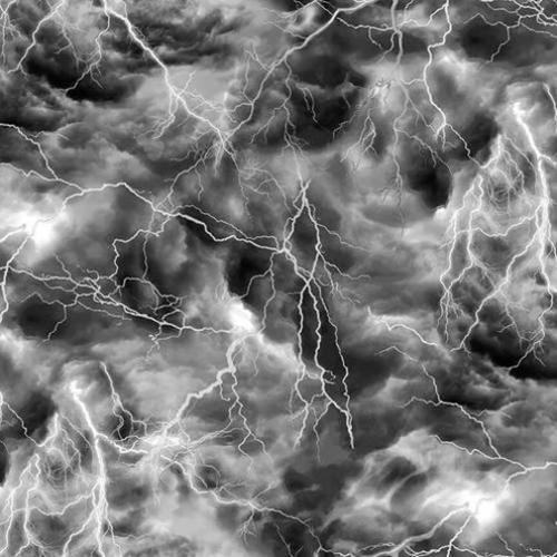 Hocus Pocus Thunderstorm Lightning on Black Sky Metallic Cotton Fabric