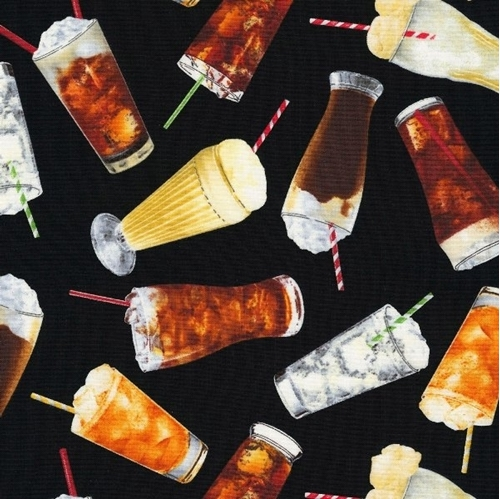 Picture of Mom's Diner Soda Drinks Root Beer Float Ice Cream Drink Cotton Fabric