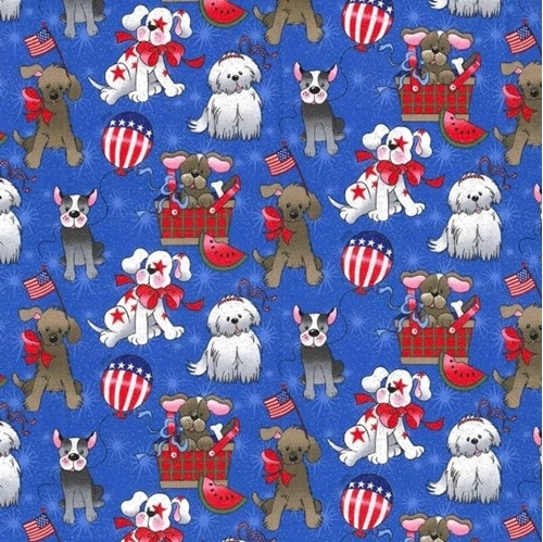 Heart of America Patriotic Dogs Sparkle Blue Dog Cotton Fabric