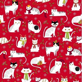 Picture of Meowy Christmas Holiday Cats with Scarves and Hats Red Cotton Fabric