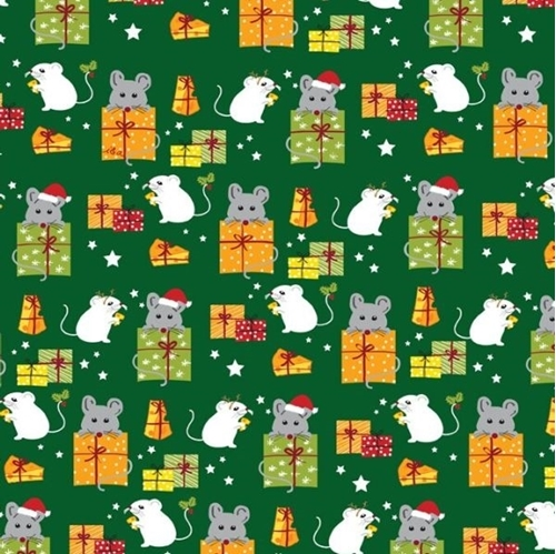 Meowy Christmas Holiday Mice and Gifts Mouse Green Cotton Fabric