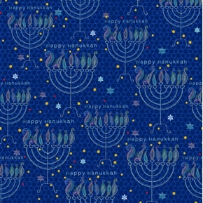 Happy Hanukkah Menorahs Menorah and Stars Blue Cotton Fabric