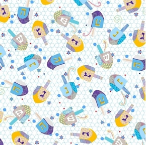Happy Hanukkah Dreidels Dreidel and Stars White Cotton Fabric