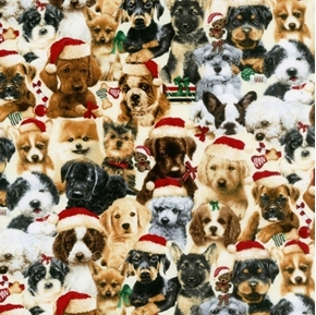 Fireside Pups Stacked Christmas Puppies Holiday Dog Cotton Fabric