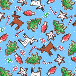 Reindeer Antics Christmas Cookie Toss Holiday Light Blue Cotton Fabric