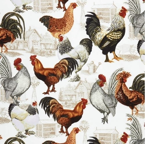 Rooster Tossed Raising Roosters Backyard Coop Beige Cotton Fabric