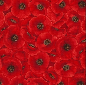 Poppies Packed Red Poppy Flowers Cotton Fabric