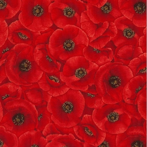 Picture of Poppies Packed Red Poppy Flowers Cotton Fabric