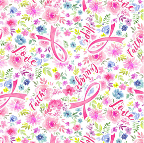 Pink Ribbons and Flowers Courage Breast Cancer Awareness Cotton Fabric