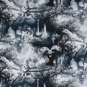 Wicked Night Owls in the Graveyard Fog Lightning Black Cotton Fabric