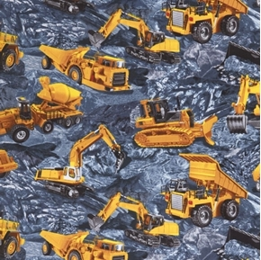 Construction Trucks Excavator Cement  Dump Truck Slate Cotton Fabric