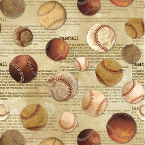 Tossed Baseballs Vintage Baseball Collection Newsprint Cotton Fabric
