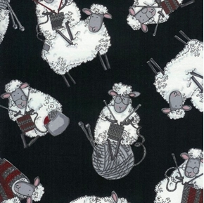 Knitting Sheep Balls of Yarn Sheep Knit Black Cotton Fabric